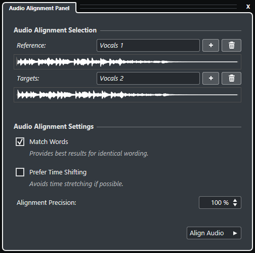 sample editor audio alignment panel