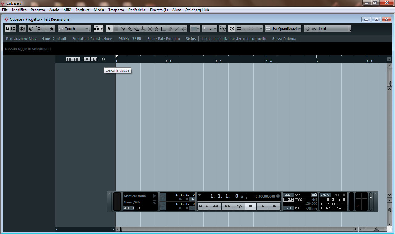 Finestra Progetto project windows Cubase 7